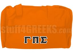 Orange Gamma Pi Sigma bag with Greek letters across the front.