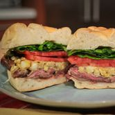 The Chew-Mario Batali's Grilled Skirt Steak Sandwich with Charred Corn Mustard