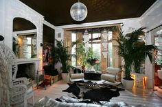 Living room with essential glitter ball. Rock Star's Follie.