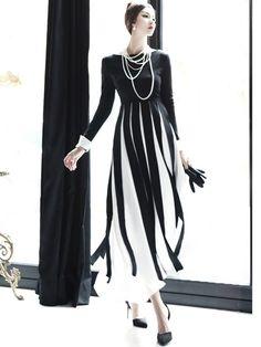 Color Block Strip Patchwork Maxi Dress