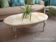 Harlequin Table Makeover. Maison Blanche Vintage Furniture Paint | Magnolia and Miel.