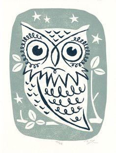 Owl - Letterpress mini print. $10.00, via Etsy.