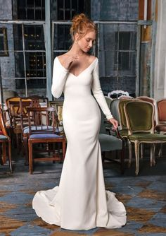 Justin Alexander Signature - Style 99002: Crepe Gown with Illusion Beaded Back Detail