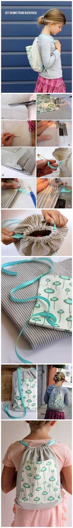 Diy Drawstring Backpack Tutorial. Easy directions.