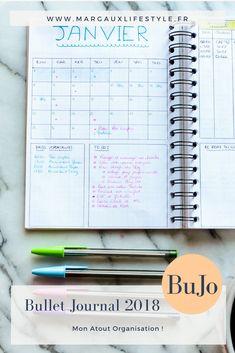 Bullet Journal 2018 ... ou mon atout organisation pour affronter cette année 2018 qui s'annonce plein de changements et de challenges ! Si toi aussi, tu as besoin d'un cadre pour être efficace, cet article est pour toi ! Agenda Bullet, Bullet Journal 2018, Creating A Bullet Journal, Diy Agenda, Agenda Planner, Bullet Journal Astuces, Bullet Journal Minimaliste, Gestion Administration, Bujo