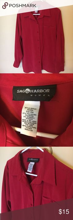 Sag Harbor woman Red shirt / jacket or blouse 18w Sag Harbor  woman Red button front shirt / jacket. Polyester fabric has nice weight with body to hold shape. Side seams has slit for comfort. Cuffed sleeves. Great as an over blouse or lightweight jacket. Size 18W. Make and offer. Sag Harbor Tops Button Down Shirts