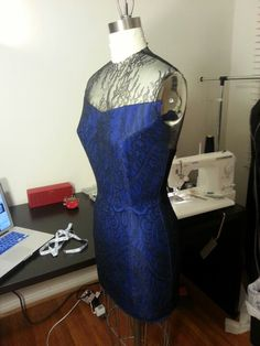 Blue wool pencil dress with black lace overlay & illusion (side)