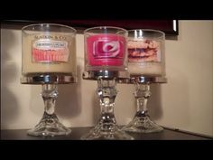 DIY Bath And Body Works candle holder. Easy to make with dollar store taper pillars, epoxy and a BBW 3 wick candle lid.