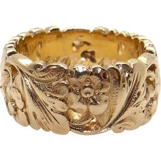 Vintage Estate 14k Yellow Gold 8mm Wide Flower Leaf Eternity Band Wedding Ring Size 4.25 from Antique Jewelry Line on RubyLane.com