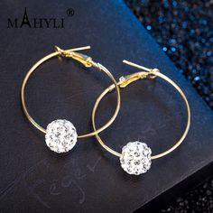 Hoop earring Fashion Crystal Rhinestone Exaggerated Luxury Big Circle  Earrings Female Ear 1Pai ES095 f2f5403106f4