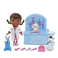 This talking Doc McStuffins doll & play set might be the answer instead of the Doc McStuffins Check Up Center...my daughter loves that this set not only comes with Doc,  but also Lambie, Chilly and more! (I love that it's under $20!