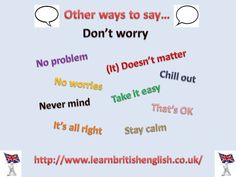 "Other ways to say ""Don't worry"""