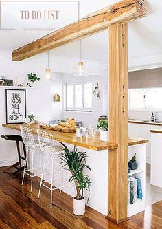 Cuddle your kitchen with this beautiful rustic kitchen design - Küche und Esszimmer - Home Sweet Home Peninsula Kitchen Design, Kitchen Islands, Island Design, Kitchen Island Pillar, Kitchen Island Against Wall, Kitchen Island Ideas With Columns, Sweet Home, Rustic Kitchen Design, Kitchen Wood