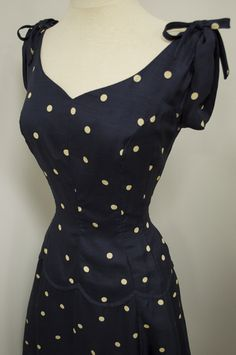 1940's Silk Navy Polka Dot Full Swing Skirt Cinch Waist Vintage Sundress