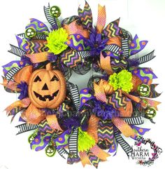Deco Mesh Halloween Wreath For Door or Wall Jack-o-Lantern Black Purple Lime Orange Halloween Front Doors, Halloween Mesh Wreaths, Holiday Wreaths, Halloween Crafts, Halloween Decorations, Halloween Ideas, Floral Decorations, Haunted Halloween, House Decorations