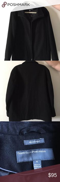 FINAL 💥PERRY ELLIS PORTFOLIO WOOL BLEND COAT Selling a mint condition Perry Ellis portfolio black coat. Like new without tags. Size Medium. No rips or tears or blemishes on coat. Zipper is broken. (Zippers cost around $5, Easy fix) Perry Ellis Jackets & Coats