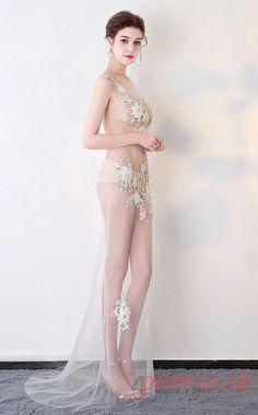 Sexy Evening Appliques See Through V-neck Clubwear Dress Auto Salon Girls BX-G723 -4prom.co.uk