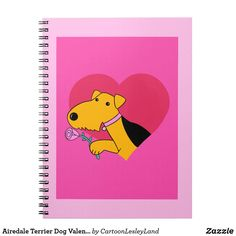 Airedale Terrier Dog Valentine's Day Notebook
