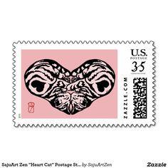 """SajuArt Zen """"Heart Cat"""" Postage Stamp"""