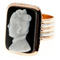 Preowned Carved Hardstone Cameo Gold Platinum Ring ($2,895) ❤ liked on Polyvore featuring jewelry, rings, multiple, cameo ring, 14k cameo ring, 14k gold ring, 14 karat gold ring and gold rings