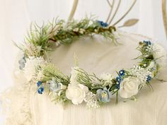 This beautiful flower crown is a lovely accessory, perfect for a party or wedding. View my shop: http://www.etsy.com/shop/lolawhiteshop FACEBOOK: https://www.facebook.com/LolaWhite.dsgn