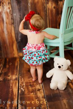 Fancy Romper Red and Aqua  Available sizes Newborn  24 by valeriya, $32.00