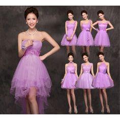 パープル系ドレス パーティードレス ブライズメイド ミニウェディングドレス  結婚式 かわいい 蝶結び付き 花 ワンピース お呼ばれ衣装 LF069W