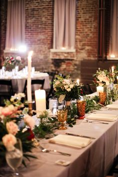 Head table floral, candlestick, stained glass heaven!! King Plow Arts Center - florals/decoration by B.Anderson Floral Designs