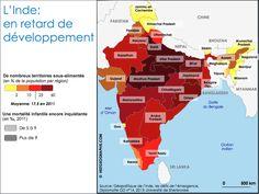 Carte régionale de l'Union indienne: des disparités de développement face à la sous-nutrition et à la mortalité infantile. Source: © HISTGEOGRAPHIE.COM, d'après Géopolitique de l'Inde, les défis de l'émergence, Diplomatie GD n°14, 2013; Université de Sherbrooke.