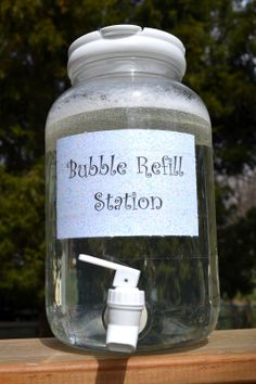 bubbles refill..Bubble solution: 12 cups of water 1 cup of dish soap 1 cup of cornstarch 2 Tbsp baking powder ...