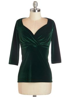 Top of the Classic in Green Velvet. Youve learned a lot about fashion, and sheathed in this emerald velvet top, we think its safe to say that your style knowledge has risen to valedictorian status. #green #modcloth