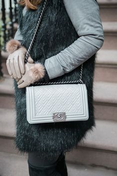 gray Chanel boy bag