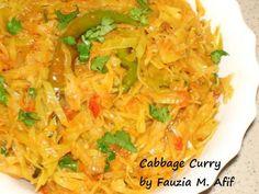 Cabbage Curry   Fauzia's Kitchen Fun