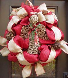 Christmas Burlap Wreaths Angel Wreath Christmas by LuxeWreaths, $169.00