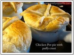 Chicken pot pie with a puffy crust