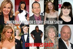 American Horror Story freakshow confirmed cast members  Jessica Lange, Angela Bassett, Denis O'Hare, Frances Conroy, Jamie Brewer, Sarah Paulson, Emma Roberts, Evan Peters, Gabourey Sidibe, Kathy Bates, and Michael Chiklis