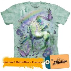 Time for a new cool graphic t-shirt? Try the Unicorn & Butterflies Kids T-Shirt on for size! Shop The Mountain website for the largest and coolest selection of fantasy t-shirts online. Butterfly Kids, Rainbow Butterfly, Oeko Tex 100, Trends, Tye Dye, Girls Shopping, Tshirts Online, Classic T Shirts, Shirt Designs