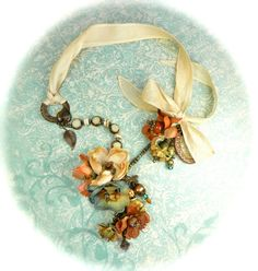wow ribbon and flower necklace