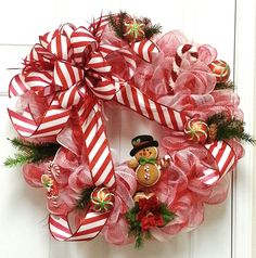Candy Cane, Gingerbread Man, Red and White, Deco Mesh Christmas Wreath by Adorabella Wreaths at www.etsy.com/shop/AdorabellaWreaths