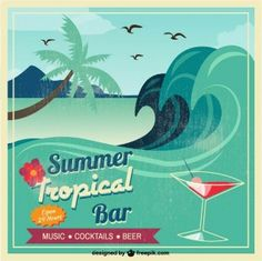 on-da Vetor seascape tropical cartão do divertimento