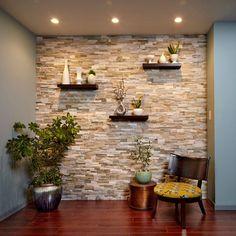 Faux Stone Walls, Stone Accent Walls, Black Accent Walls, Accent Walls In Living Room, Faux Stone Wall Panels, Living Room Partition Design, Room Partition Designs, Black Feature Wall, Apartment Painting
