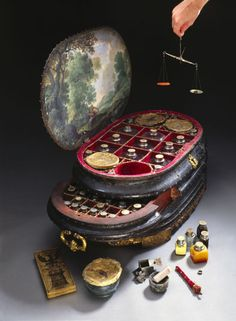 Genoese medicine chest, c 1565.  Made for Vincenzo Giustiniani (d 1570), the last Genoese govenor of the island of Chios in the eastern Aegean Sea. The chest still holds 126 bottles and pots for drugs, some of which appear to have the 16th century contents.