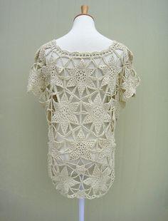 Boho Short Sleeve Crochet Floral Lace Blouse