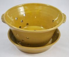 Yellow Berry Bowl or Colander with Saucer Stoneware by dkpottery, $36.00