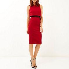 Red mesh panel 2-in-1 bodycon dress - bodycon dresses - dresses - women