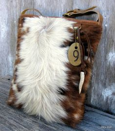 Tri Color Hair On Cowhide Leather Bucket Bag by Stacy Leigh