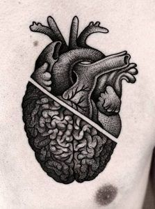 Dotwork heart and brain by Kamil Czapiga