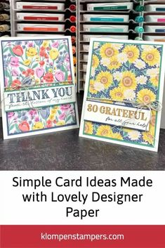 I love making simple cards where the focal point is the designer paper or scrapbook paper. It's a great way to use up paper scraps and show off those lovely papers! You only need a few card making supplies to get started. I've got a video tutorial to go with these too. Learn more at www.klompenstampers.com Paper Scraps, Card Making Supplies, Greeting Cards Handmade, Paper Design, Scrapbook Paper, Cardmaking, Buffet Ideas, Learning, Simple