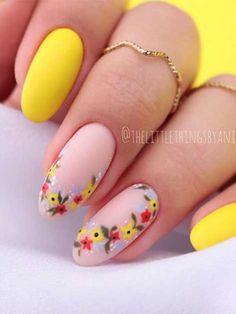 Round Nail Designs, Nail Designs Spring, Nail Art Designs, Accent Nail Designs, Round Nails, Oval Nails, Round Shaped Nails, Almond Acrylic Nails, Best Acrylic Nails