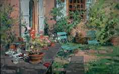 Terrace with Green Chairs, Burgundy (oil on canvas)